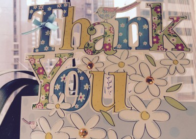 Thank you card from one of our clients.